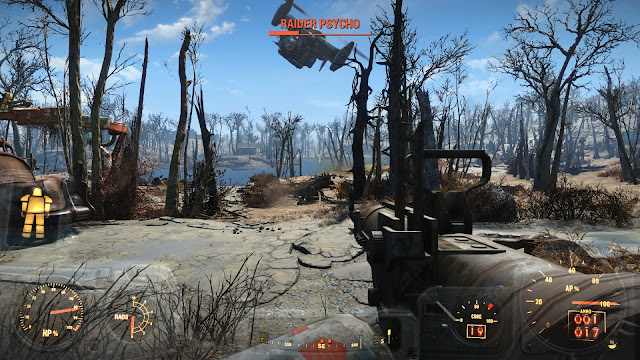 Screenshot from Fallout 4 of Brotherhood of Steel gunship and Raiders taking out a Deathclaw