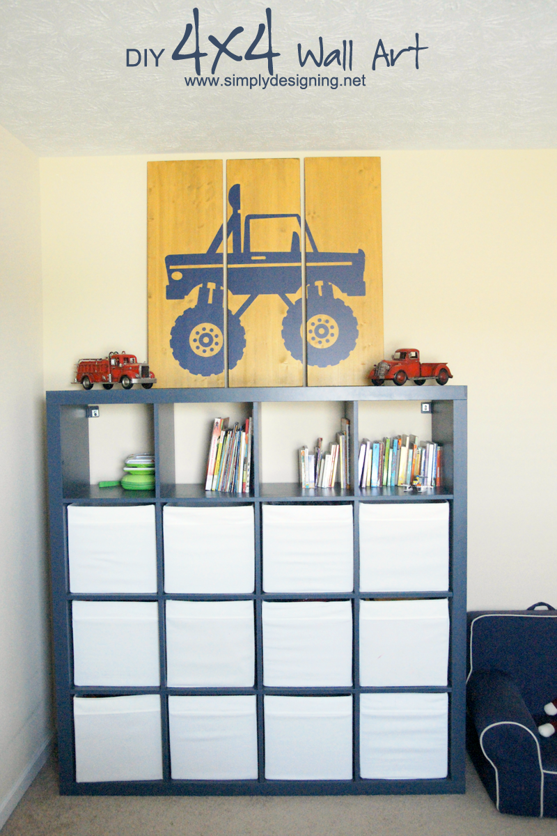 DIY 4x4 Wall Art | recreate this simple but impressive large art work for any boys room! | #homedecor #diy #crafts #4x4 #vinyl #paint