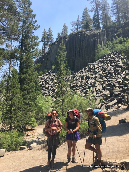 people met on the trail at Devils Postpile National Monument in Mammoth Lakes, California