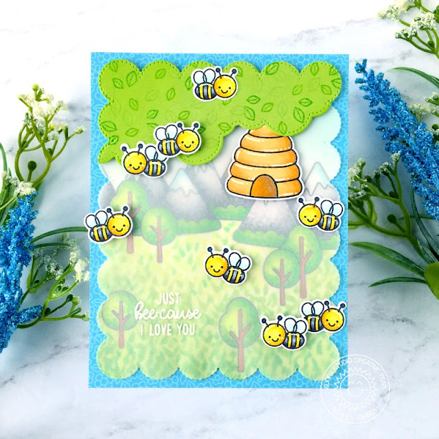 Sunny Studio Stamps: Frilly Frame Eyelet Lace Dies Fluffy Cloud Border Dies Just Bee-cause Everyday Card by Ashley Ebben