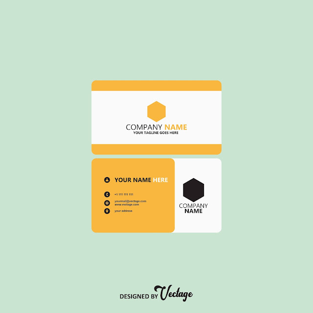 yellow business card,