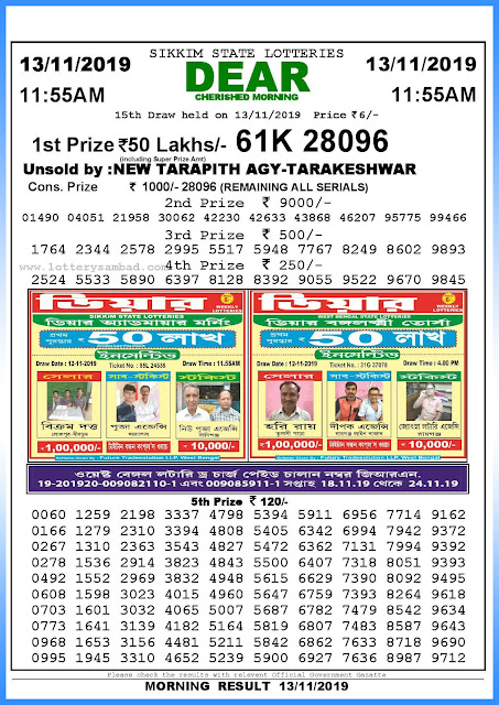 Lottery Sambad 13-11-2019 Sikkim State Lottery Result 11.55 AM-sambadlottery.org