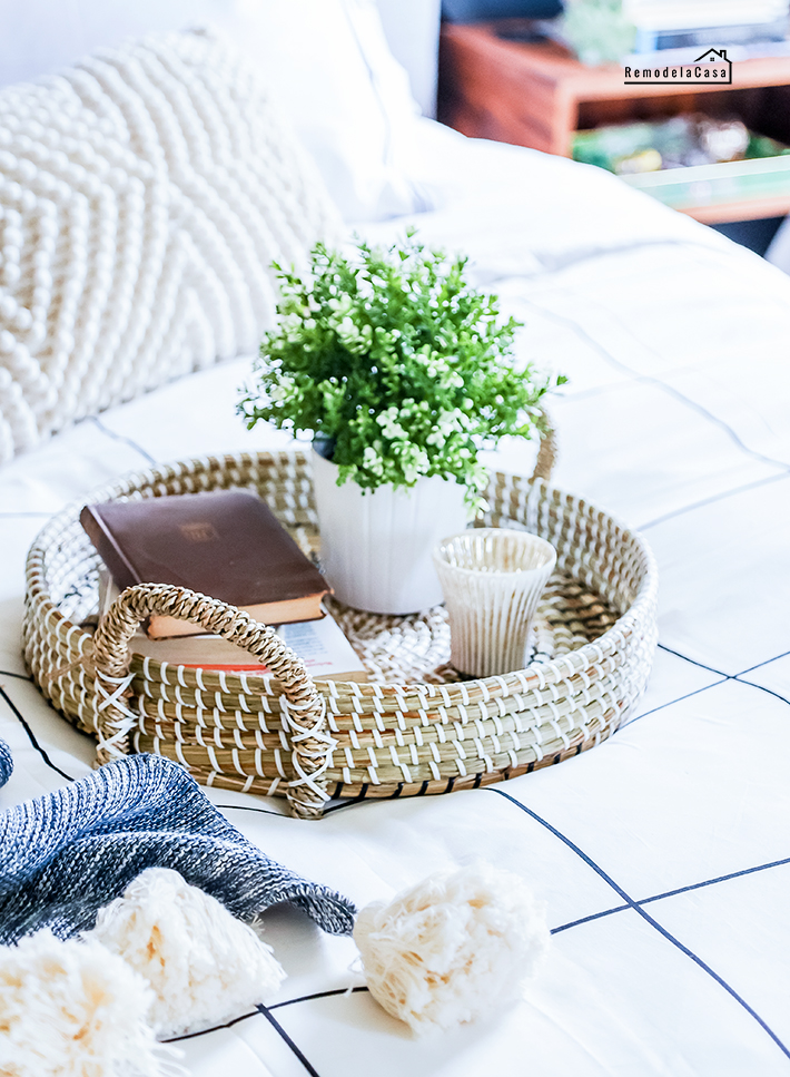 round tray with books and plant