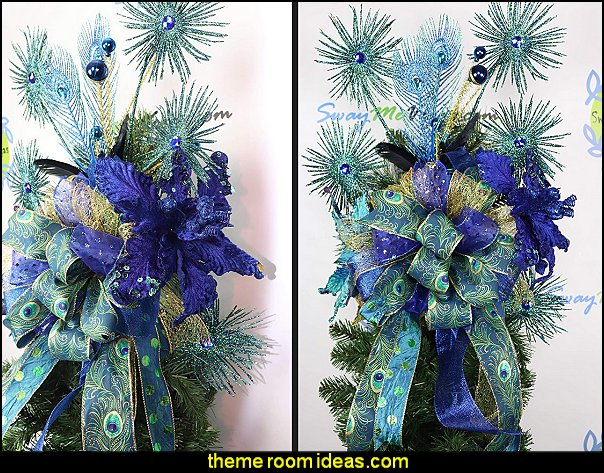 Blue Peacock Tree Topper, Christmas Decor, Blue Gold Turquoise Holiday Decorations peacock color Christmas decorating - peacock color decorations - peacock themed Christmas - Peacock Tree Theme - peacock christmas tree decorations - Peacock Decorations - Peacock Tree Theme decorating Christmas Peacock - christmas feathered Peacock Christmas Ornaments - Peacock themed Christmas