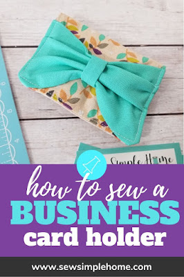 Organize your business cards with this free sewing tutorial to make your own diy business card holder.