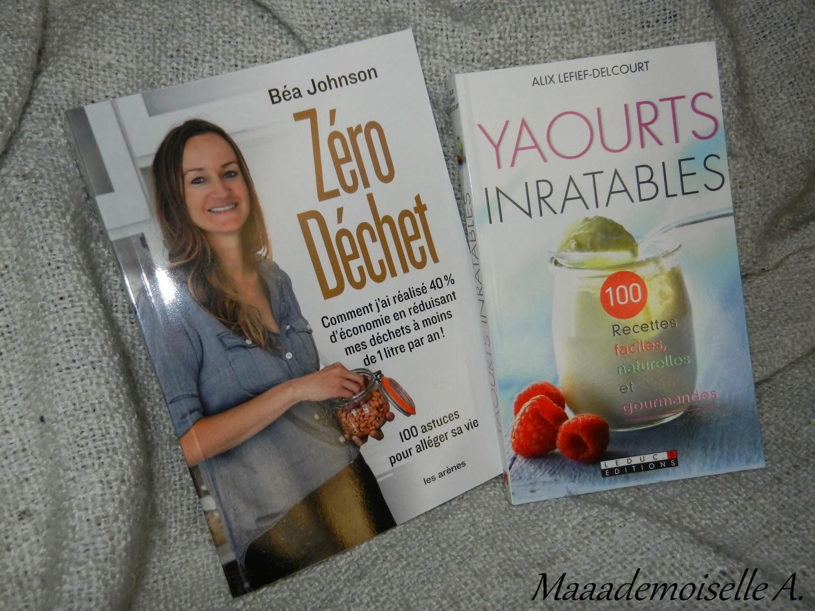 livres zéro déchet et livre yaourts inratables