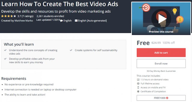 [100% Off] Learn How To Create The Best Video Ads| Worth 24,99$
