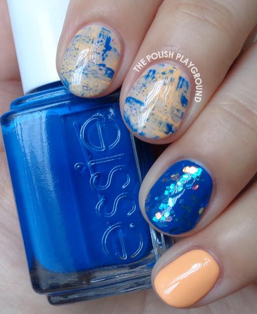 Blue and Orange Brushstroke Skittle Nail Art