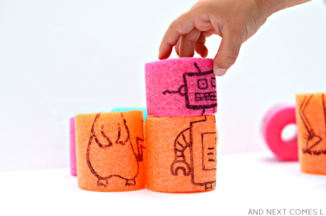 DIY pool noodle craft: mix and match creature blocks for kids from And Next Comes L