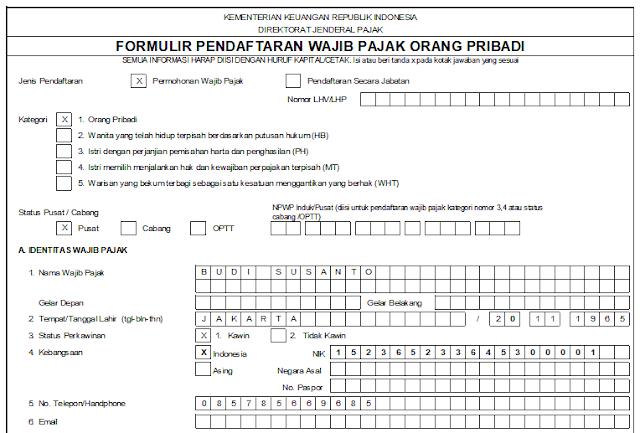 Formulir NPWP Pribadi dan Badan Terbaru