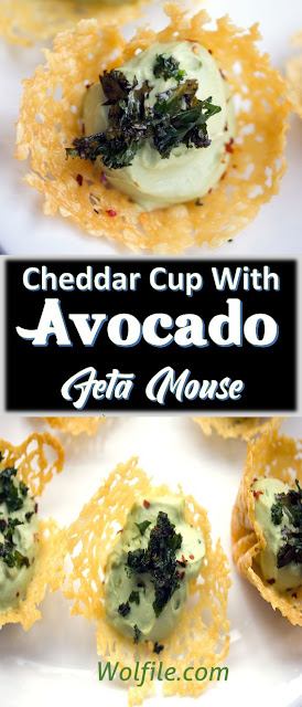 Cheddar Cups with Avocado Feta Mousse Recipe #Snack