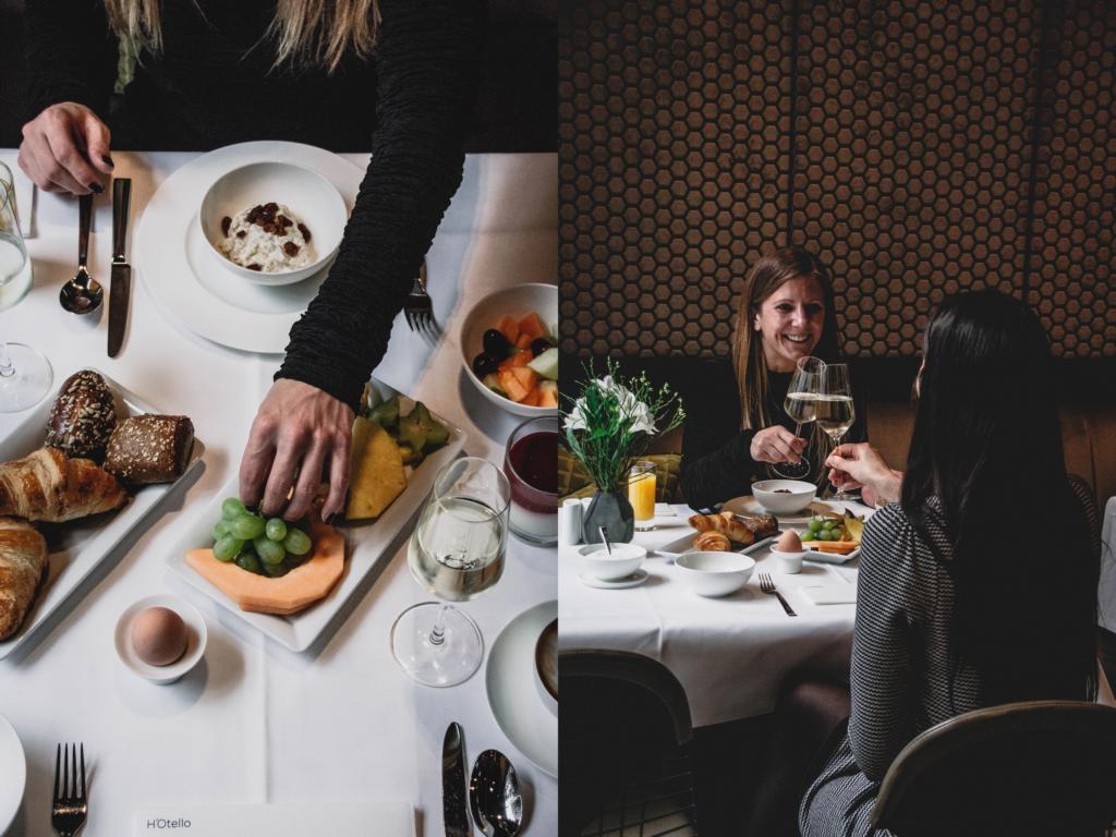 Frühstückstisch und Gäste im H'Otello