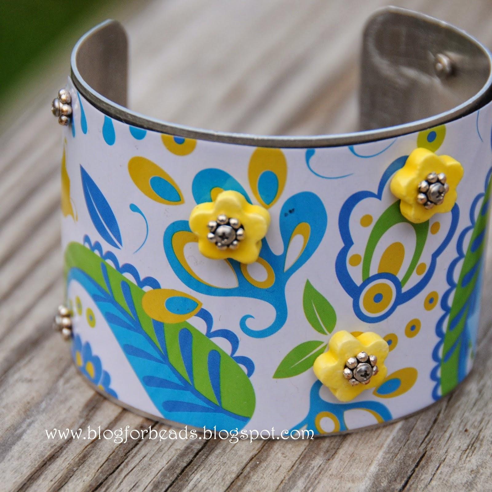 Cindy Kovar Pottery Bead Artist: Recycled Brighton Tin Cuff Bracelet