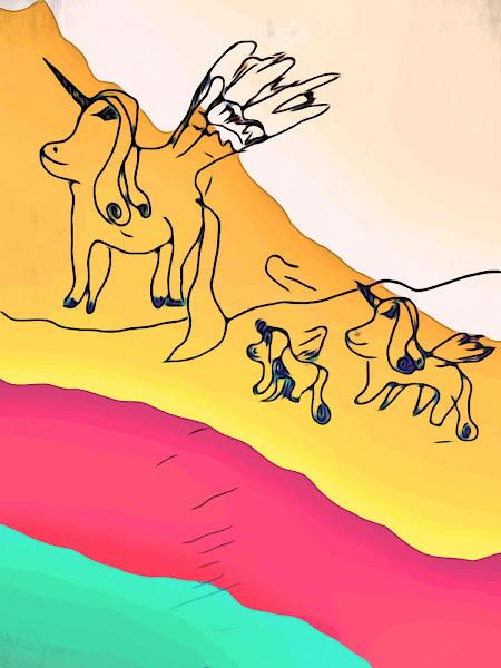 Unicorn family free drawing by Alex