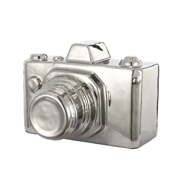Silver Ceramic Camera Sculpture
