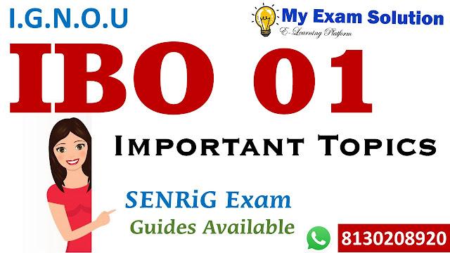 IBO 01 Important Topics for Exams ; IBO 01 Important Topics