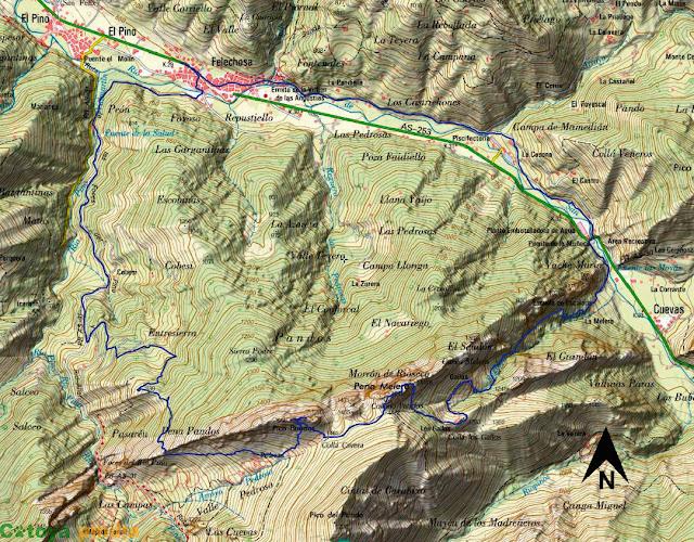 Mapa de la ruta señalizada a  Peña Melera y Los Pandos