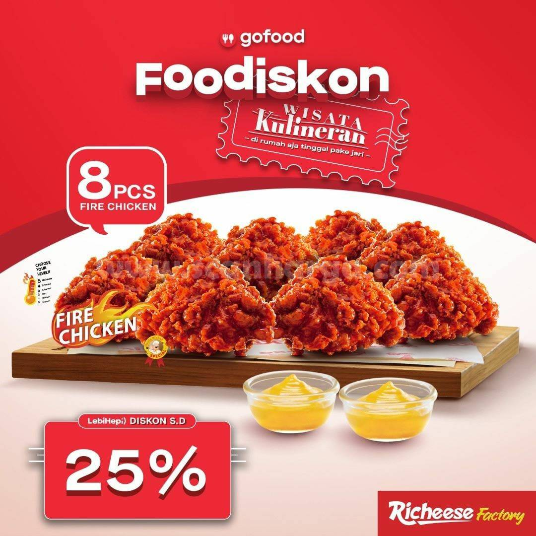 Richeese Factory Promo GOFOOD FOODISKON - Beli 8pcs Fire Chicken Diskon hingga 25%