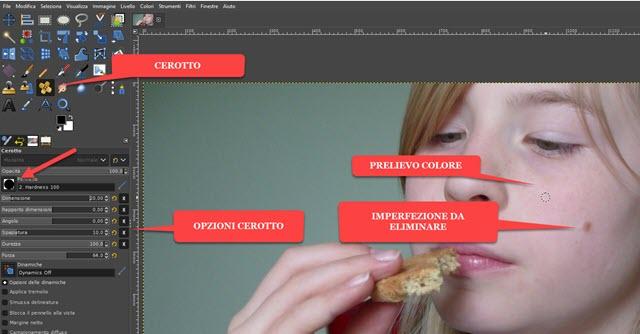 applicare lo strumento cerotto con GIMP