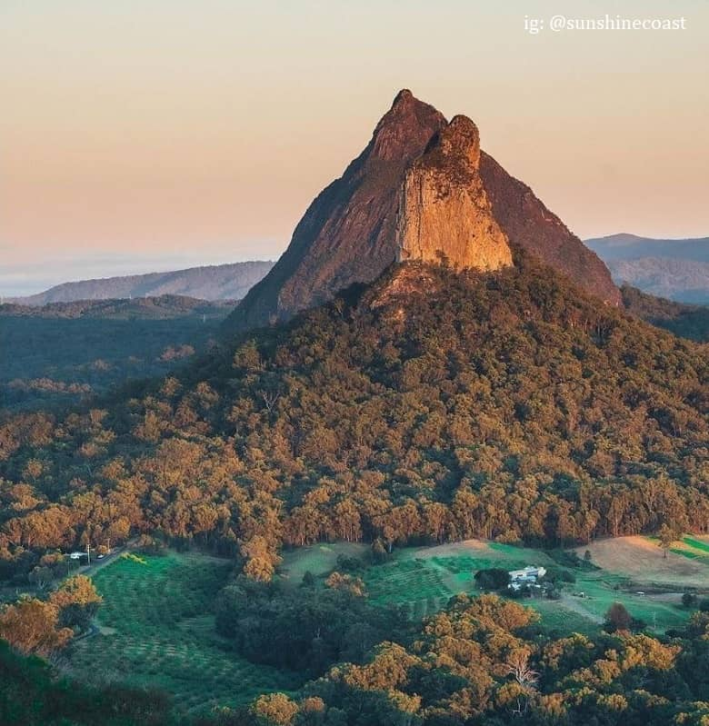 a picture of a landmark mountain in Sunshine Coast