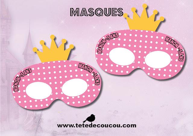 Masques Kit anniversaire personnalisé princesse fille rose à imprimer tête de coucou