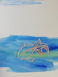 パステルで輪郭を彩色した切り絵(濃い背景)