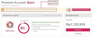 Tampilan Dashboard Account Premium Bukalapak
