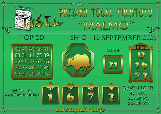 Prediksi Togel MALMO TULISTOTO 10 SEPTEMBER 2020