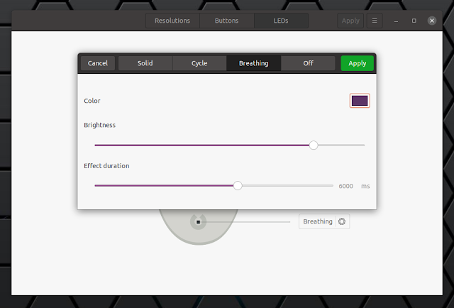 Piper configure mouse LEDs Linux