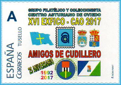 Sello personalñizado Exposición de coleccionismo  filatelia en el Centro Asturiano de Oviedo, aniversario de Amigos de Cudillero