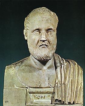 Προτομή του Ισοκράτη. Ρωμαϊκό αντίγραφο   έργου του 4ου αιώνα π.Χ.   Napoli, Museo Archeologico Nazionale © Museo Archeologico Nazionale, Napoli.