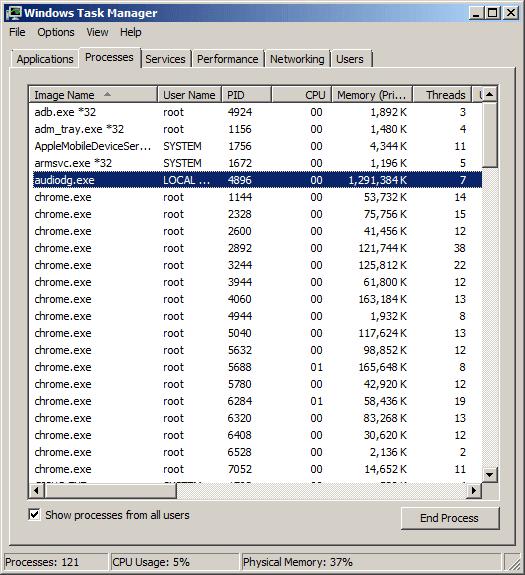 audiodg.exe 100 cpu