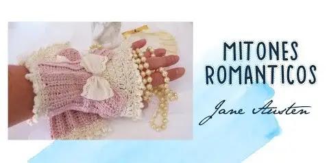 Hermosos Mitones Románticos Tejido a Crochet