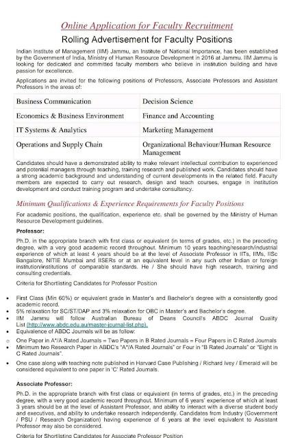 jobs in IIM Jammu