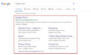 Penampakan sitelink untuk keyword Blogger Firaun (sitelink diberikan oleh Google secara alami)