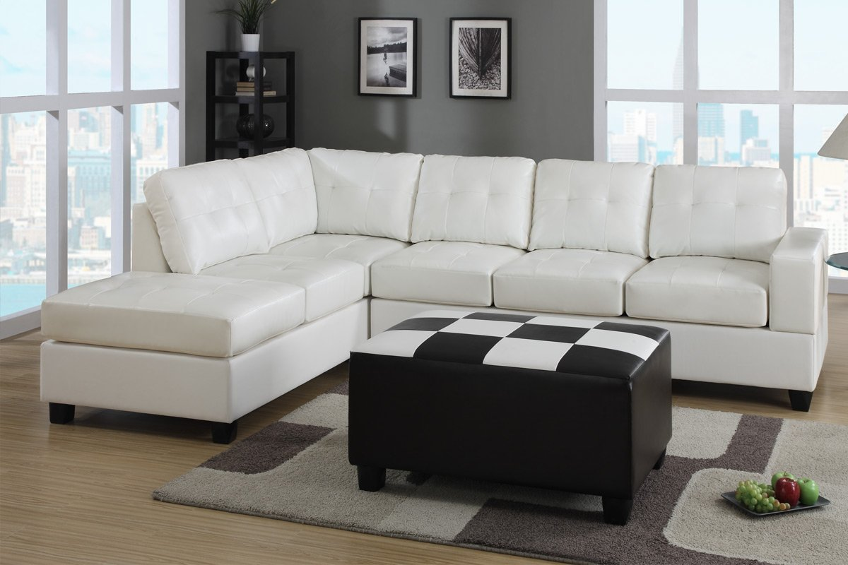Microfiber And Leather Sectional Sleeper Sofa With Chaise