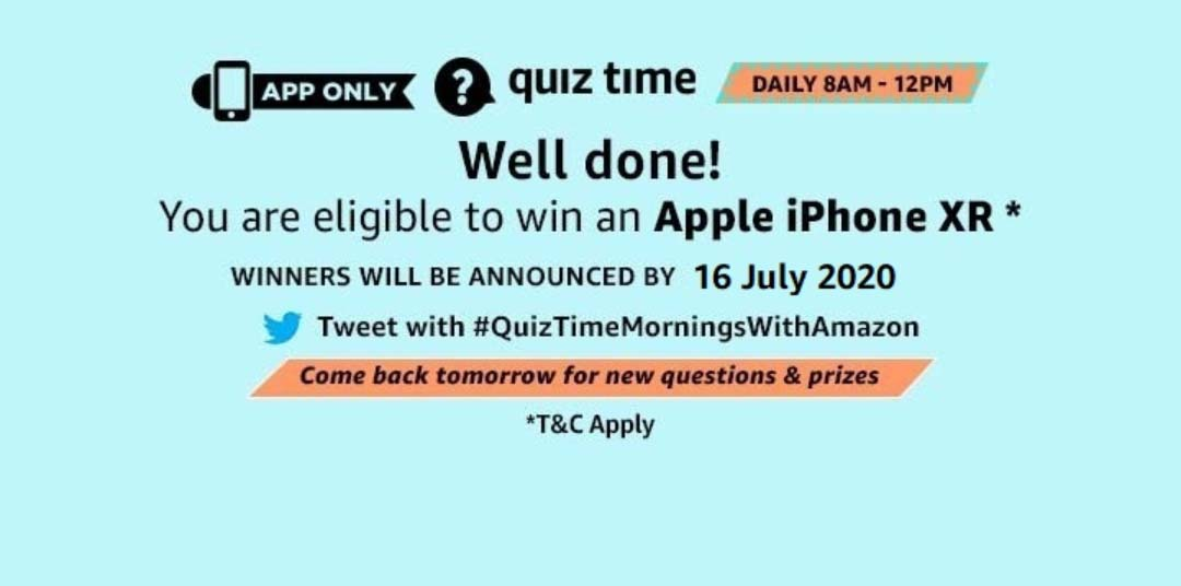 Amazon Quiz Answers For Today 15th July 2020 Win Apple iPhone XR