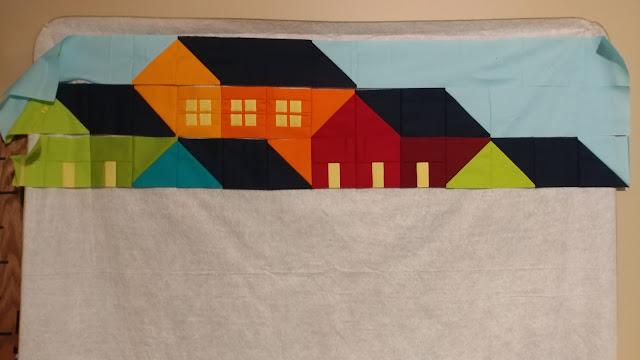 Custom Hillside Houses quilt