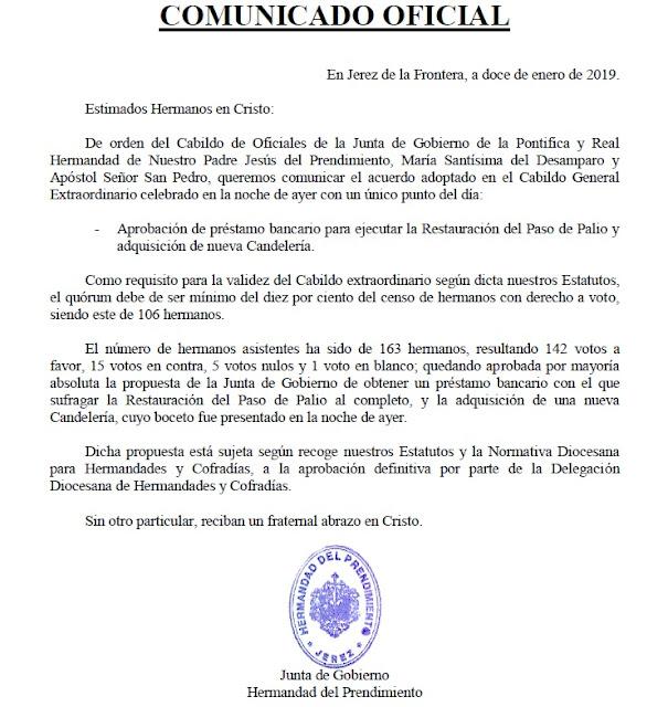 El Prendimiento de Jerez aprobó la restauración del paso de palio