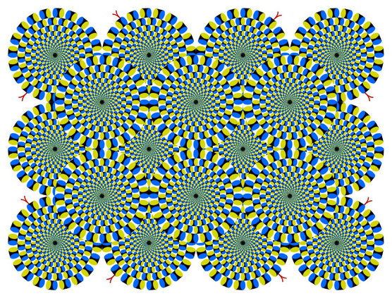 Optical illusion. Wheels that appear to move like coiledsnakes
