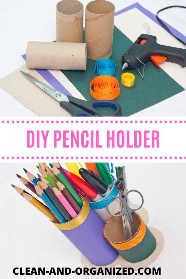 DIY Pencil holder made from recycled materials - cardboard pencil holder and organizer