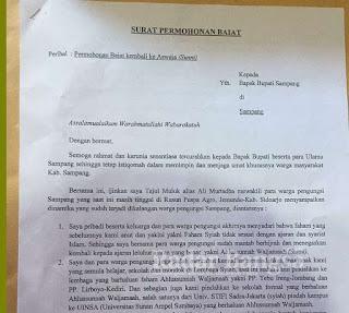 Ini Surat Permohonan Tajul Muluk dan Pengikut Syiah Sampang kembali ke Ajaran Islam