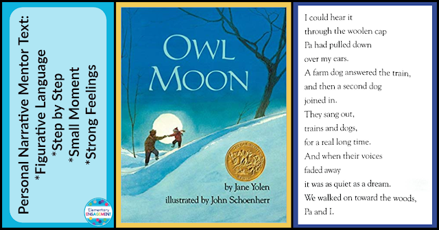 If you need a book that demonstrates how to use figurative language in a personal narrative, Owl Moon is perfect!