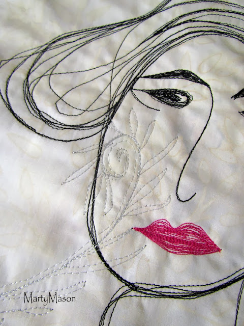 Lady with hot lips and an attitude...thread sketched by MartyMason