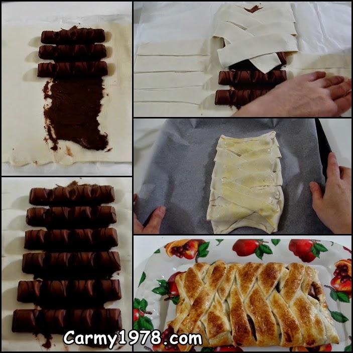 treccia di pasta sfoglia con kinder bueno e nutella