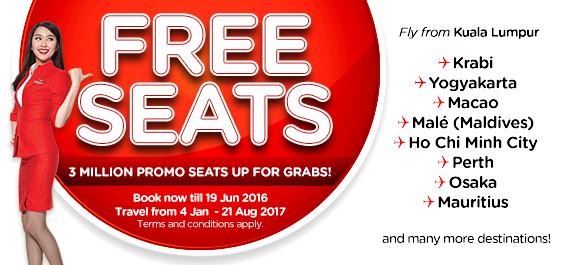 AirAsia Free Seats 2017 Zero Fares