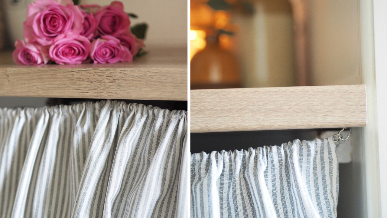 How to make your own DIY laundry room curtain to hide your ugly appliances such as a washing machine, tumble dryer or washer dryer. Easy to make DIY from a metre of fabric, and makes a big difference to the look of your kitchen or laundry room. Rustic farmhouse cottage style kitchen decoration.