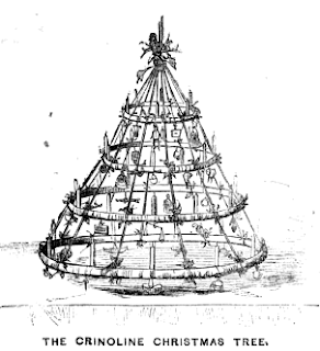 """The Crinoline Christmas Tree"" cartoon from Frank Leslie's New York Journal (1857)"