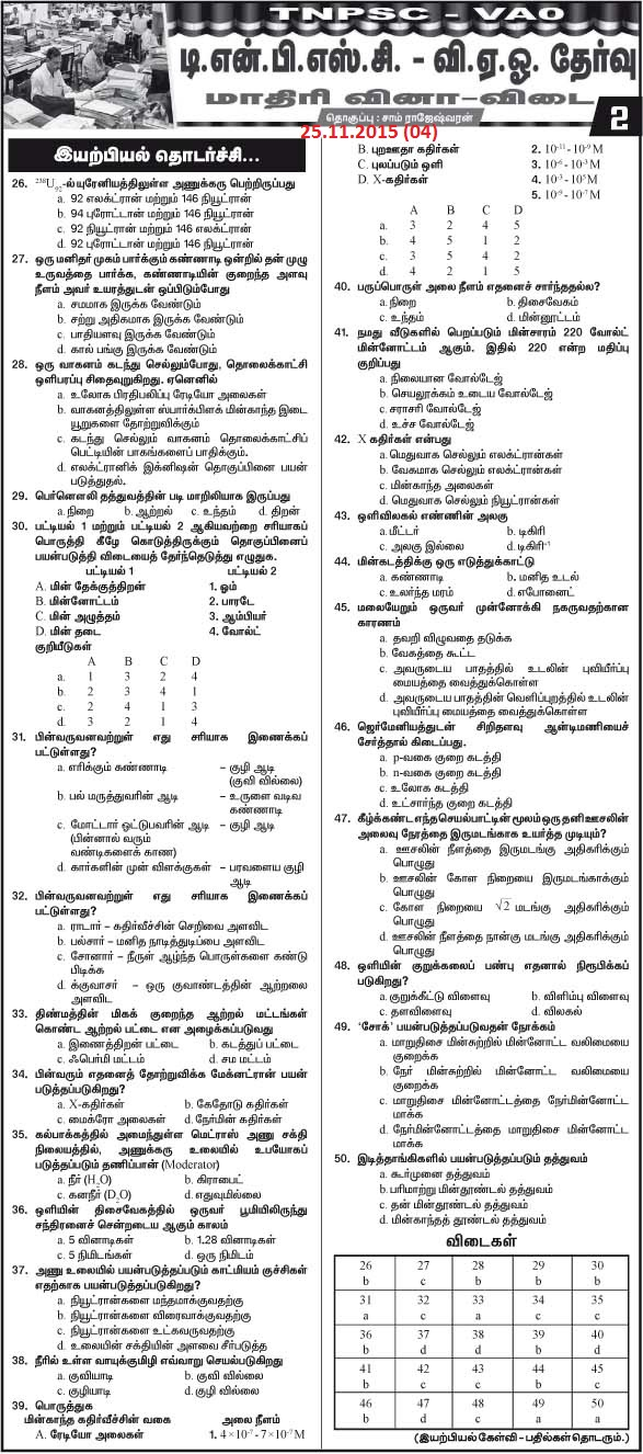 Model Questions and Answers for   TNPSC VAO Exam 2015  25.11.2015  Daily Thanthi Series (04)    [Download 2015 VAO 04]   Courtesy : Daily Thanthi