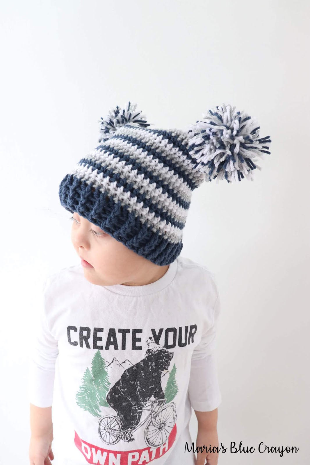 Double Pom Pom Hat for Baby, Kids and Adults - Free Crochet Pattern